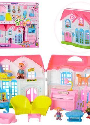 Игрушечный домик для кукол 3907-1 с мебелью и фигурками