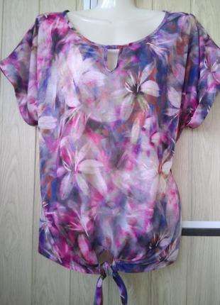 Потрясающая брендовая блуза футболка с бусинами принт цветы