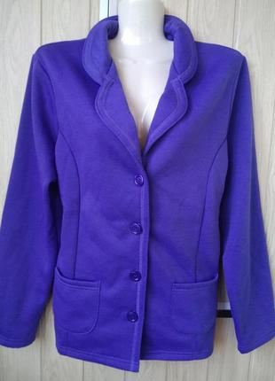 Уютный васильковый пиджак блейзер жакет кофта подарок