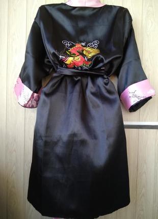 Двухсторонний эффектный халат кимоно цветущая сакура с вышивкой