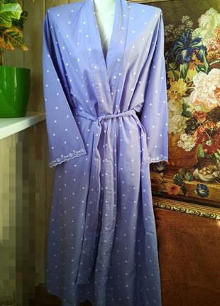 Лавандовый  халат на запах с красивой вышивкой хлопок 100% батал