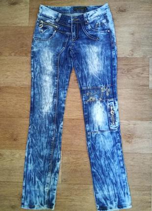 Интересные прямые синие джинсы мом c высокой посадкой хлопок 100%