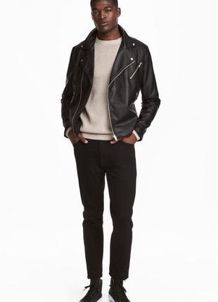 Черные джинсы h&m x the weeknd collection! slim regular croppe...
