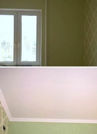 Поклейка обоев на стены и потолок, любые виды сложности