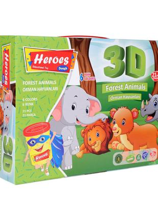 Набір тіста для ліплення 3D фігурок Дикі тварини Heroes Play-Toy