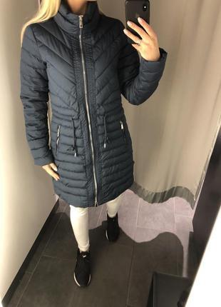 Синее демисезонное пальто удлинённая куртка. amisu. размеры ут...