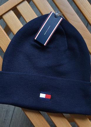 Женская зимняя шапка tommy hilfiger синяя акриловая