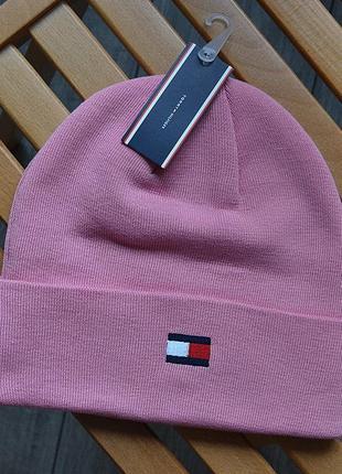 Женская зимняя шапка tommy hilfiger розовая акриловая