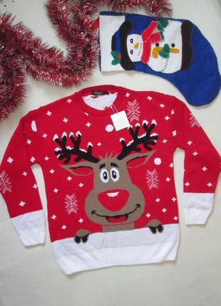 Шикарный новогодний рождественский свитер джемпер с оленем и с...