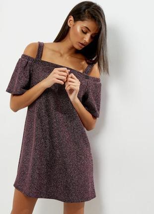 Нарядное сверкающее платье открытые плечи люрекс от new look