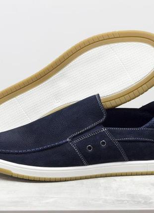Летние мужские туфли мокасины из мягкой кожи нубук