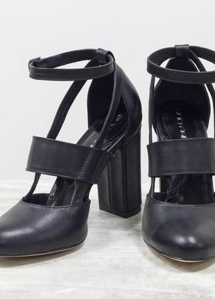 Дизайнерские туфли из натуральной кожи черного цвета