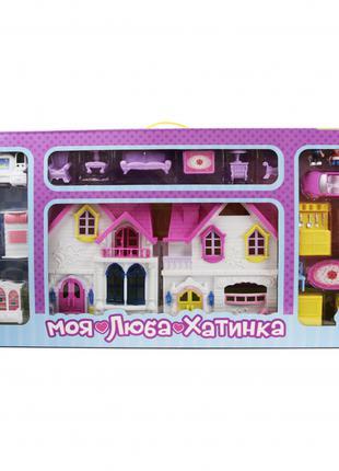 Домик для кукол с мебелью WD-921 фигурки и машинка в наборе (Ж...