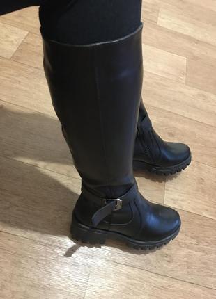 Кожаные черные сапоги 36-41