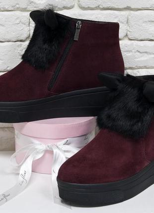 Женские ботинки из натуральной замши бордового цвета с ушками ...