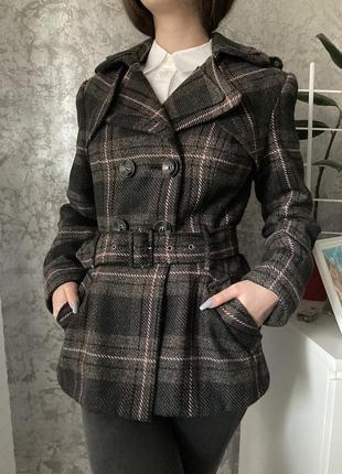 Демисезонное клетчатое пальто, тренч в составе шерсть