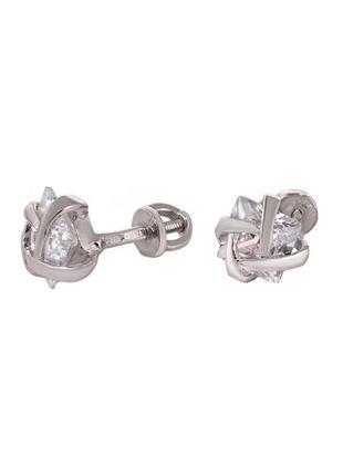 Серебряные пуссеты с фианитом «квадрат в обрамлении»