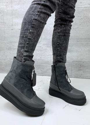 ❤ женские серые зимние ботинки сапоги полусапожки на меху ❤