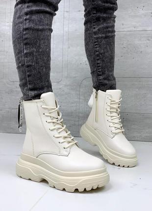 ❤ женские бежевые зимние ботинки сапоги полусапожки на меху  ❤