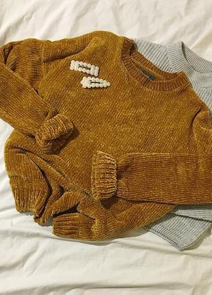Велюровый свитер горчичного цвета