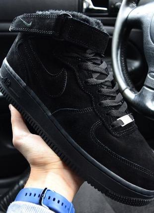 Nike air force mid winter black мужские зимние кроссовки с мех...