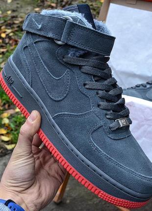 Nike air force mid winter grey мужские зимние кроссовки с мехо...