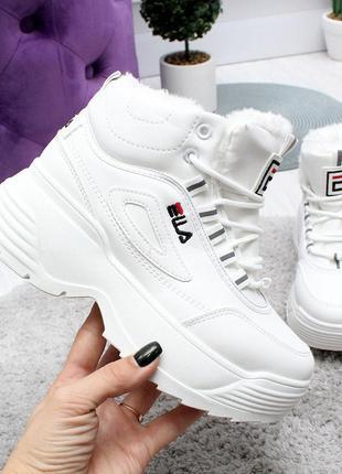 Зимние женские кроссовки на платформе в стиле fila 38р-24 см