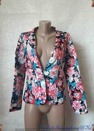 Новый атласный нарядный пиджак/жакет в цветочный принт, размер...