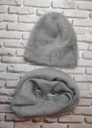 Комплект шапка шарф снуд ангора норка