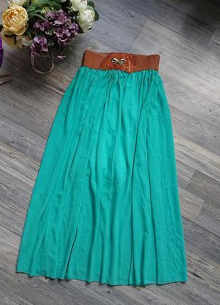 Красивая юбка в пол цвет тифани р.s/m/l длинная юбка макси