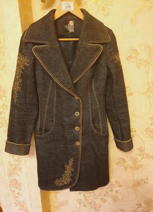 Утеплённое зимнее весеннее пальто шерстяное прямой крой сине с...