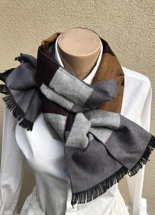 Кашемир100%,шарф унисекс,палантин в полоску,бахрома
