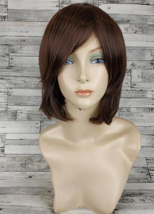 Парик каре с косой челкой прямой темно-коричневый 3671