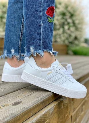 Adidas samba white leather женские кожаные кроссовки белого цвета