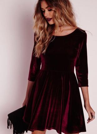 Бордовое бархатное платье с вырезом на спинке, asos, m/l