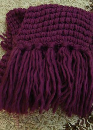 Объемный шарф, грубая вязка