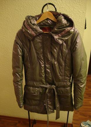 Тепла зимова куртка на сентипоні з капюшоном