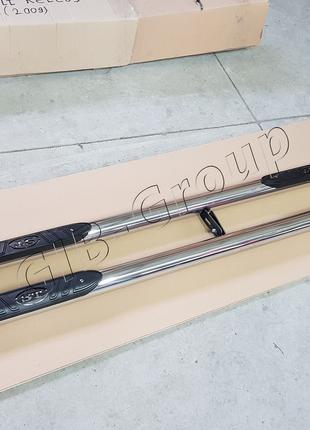 Пороги боковые труба Suzuki Grand Vitara ll (97-21) D60 с накл...