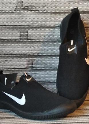 Кроссовки nike (слипоны) черные с белым