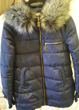 Пуховик женский парка синего цвета куртка удлинённая пальто зи...