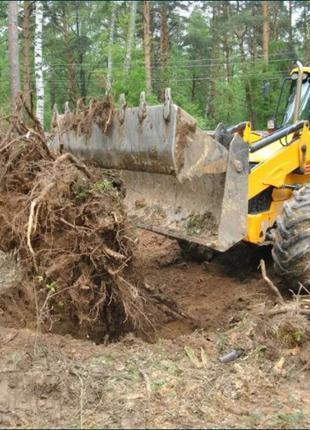 Демонтаж уборка спил деревьев копка ям траншей