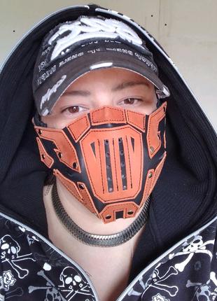 Мото маска. Кожаная маска для лица