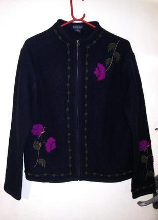 100% шерсть,роскошный жакет-кардиган-куртка-кофта на молнии,с ...