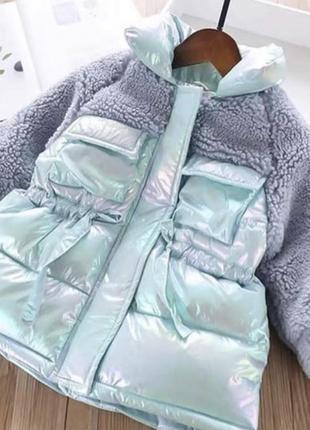 Куртка меховушка халлофайбер пуховик блестящий хамелеон