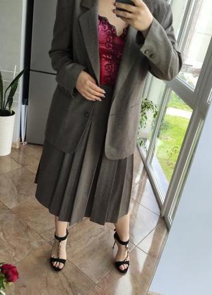 Шерстяний костюм двійка спідниця юбка піджак жакет