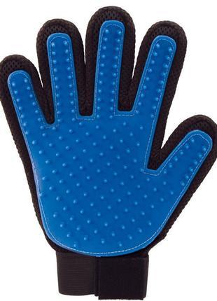 Перчатки для вычесывания животных PET GLOVES на липучке, синяя...