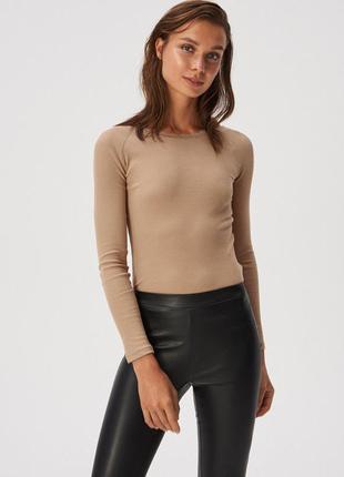Новая песочная бежевая кофта светло-коричневый лонгслив блузка...