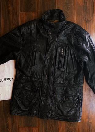 Мужская удлиненная и утепленная кожаная куртка тм liberty