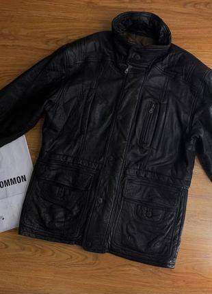 Мужская черная удлиненная и утепленная кожаная куртка на синте...