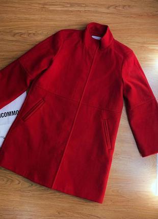 Женское шерстяное красное пальто